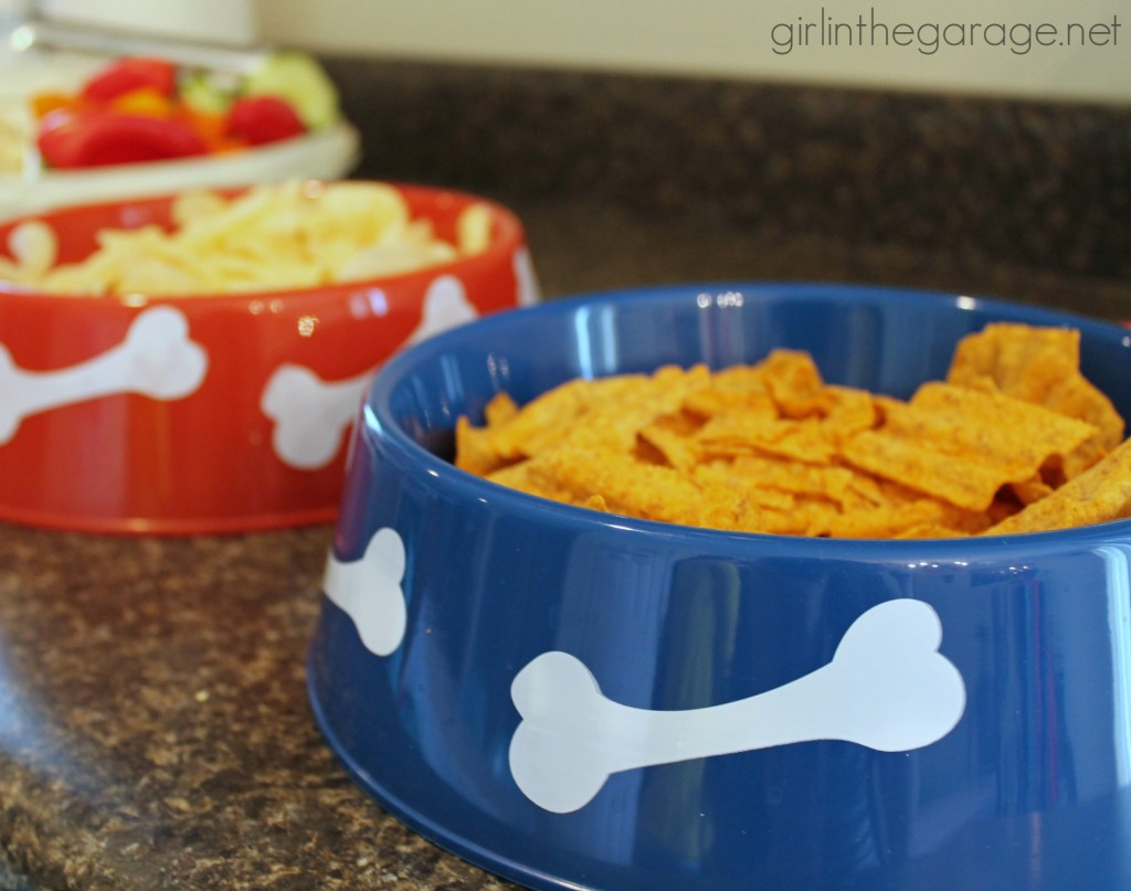Paw Patrol Birthday Party: Dog bowls from the dollar store to hold chips!  girlinthegarage.net