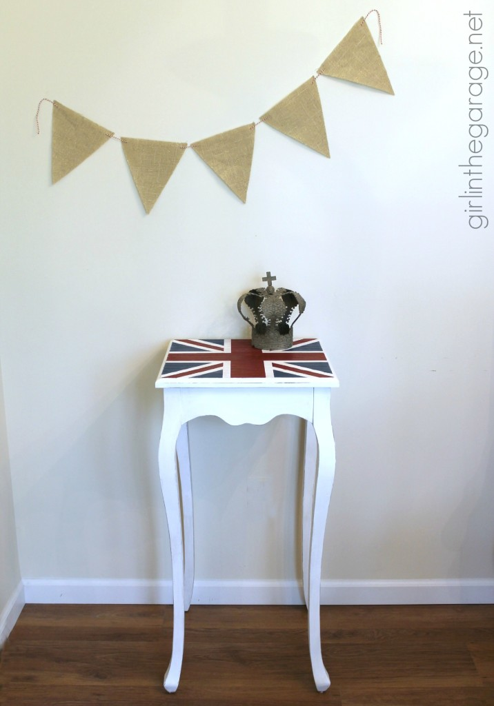 How a plain table was given a British makeover with the Union Jack flag.  girlinthegarage.net
