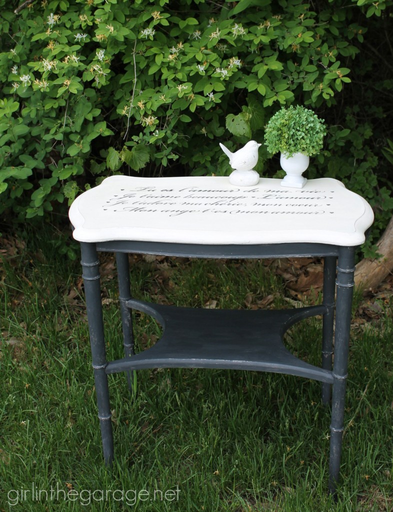 French Script Table Makeover