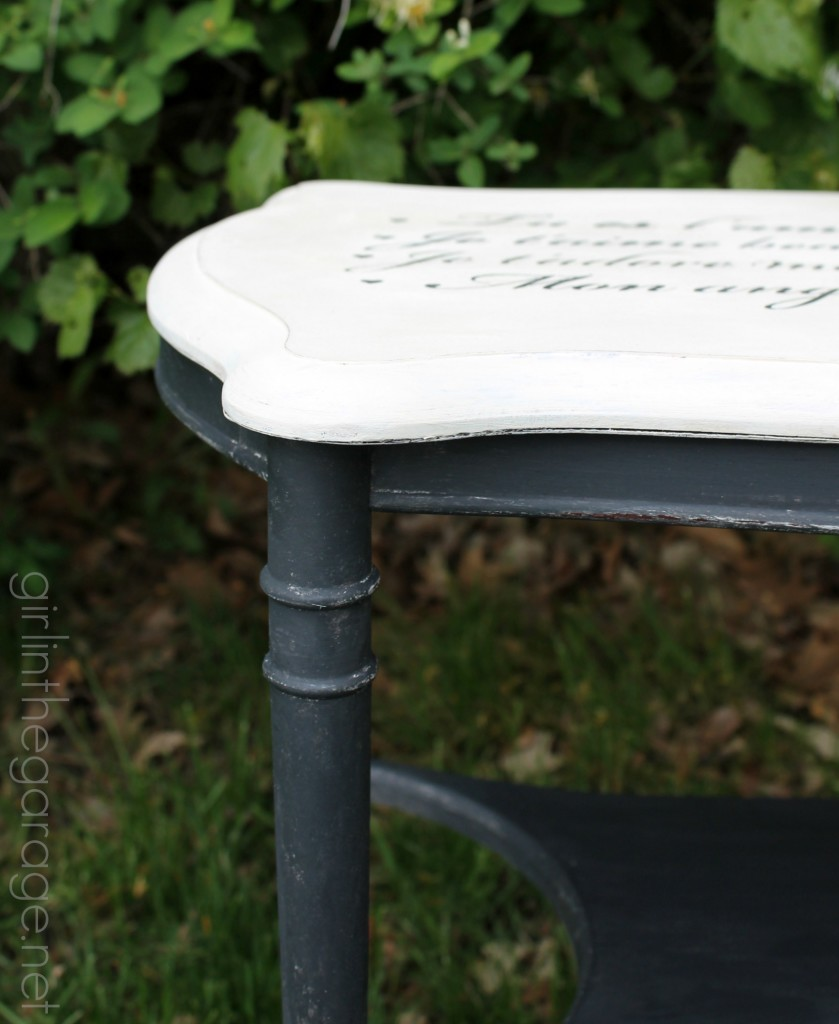 How to paint a French love letter table makeover - a Themed Furniture Makeover Day project with 20 other bloggers.  girlinthegarage.net