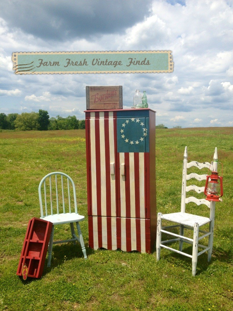 Painted Flag Wardrobe - Farm Fresh Vintage Finds