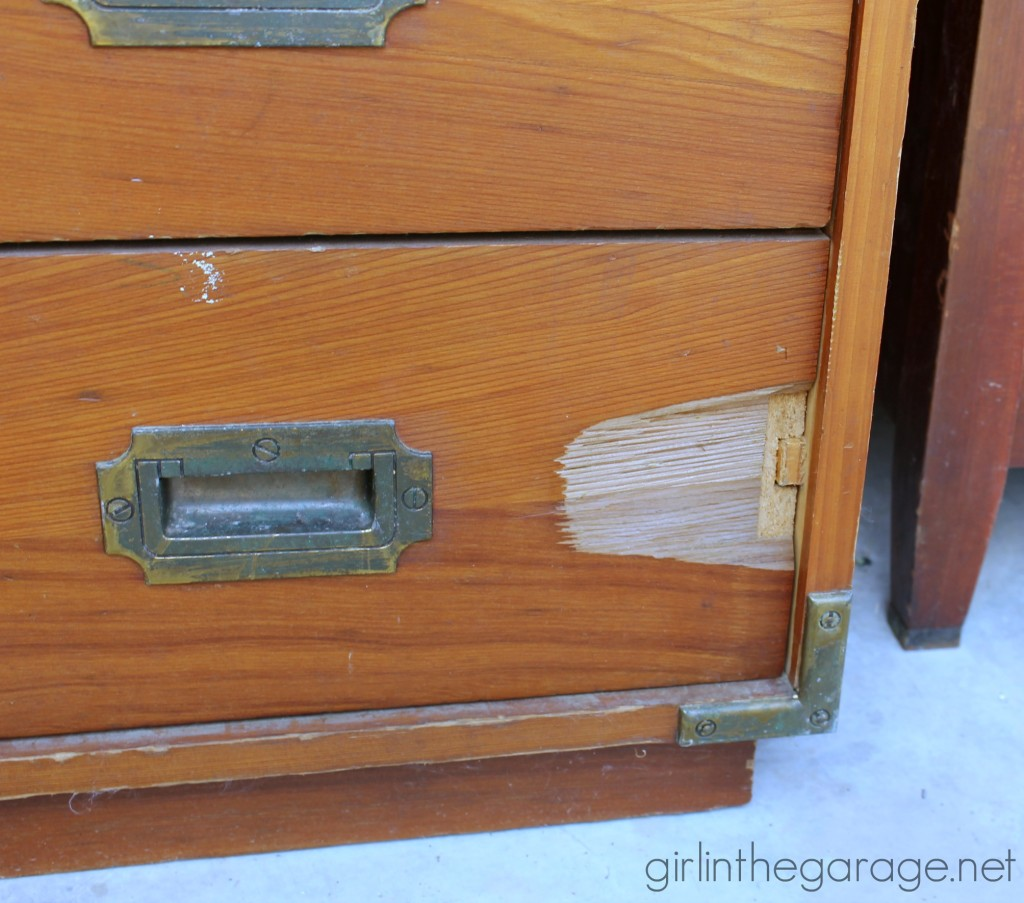 Learn how to upcycle two nightstands into Pottery Barn inspired trunk bedside tables with easy DIY leather pulls. By Girl in the Garage