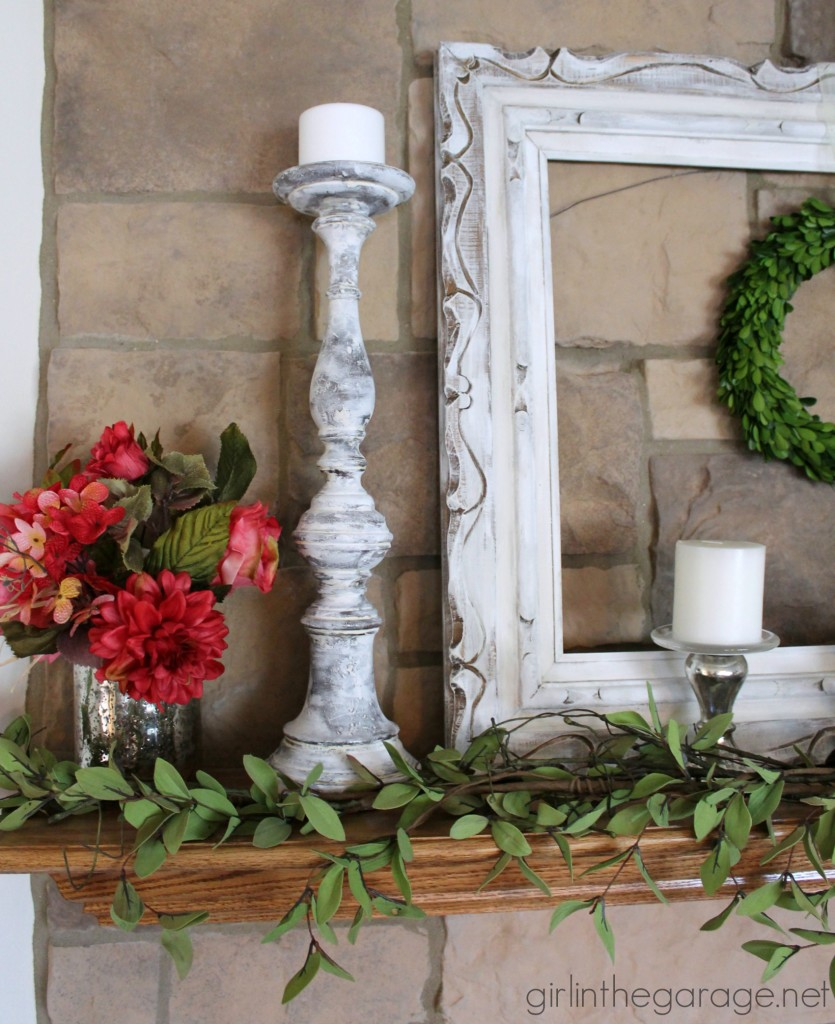 White and bright summer mantel with DIY updates - Welcome Home Tour with Balsam Hill.  girlinthegarage.net