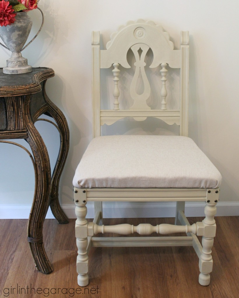 DIY Chair Makeover - How a bright vintage chair was toned down with Chalk Paint and new fabric.  girlinthegarage.net