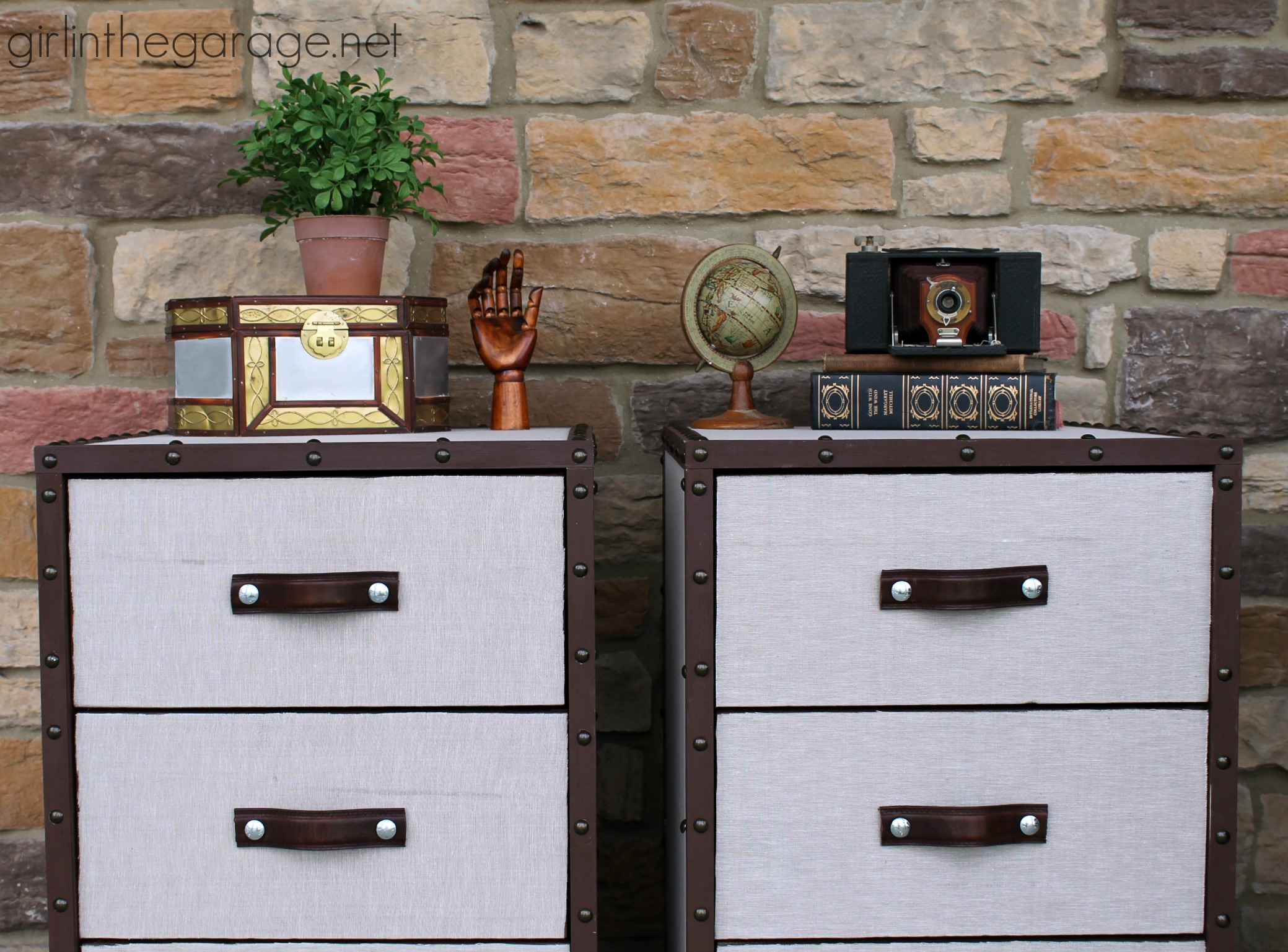 Two Nightstands Are Transformed Into Pottery Barn Inspired DIY Trunk  Bedside Tables For Themed Furniture Makeover