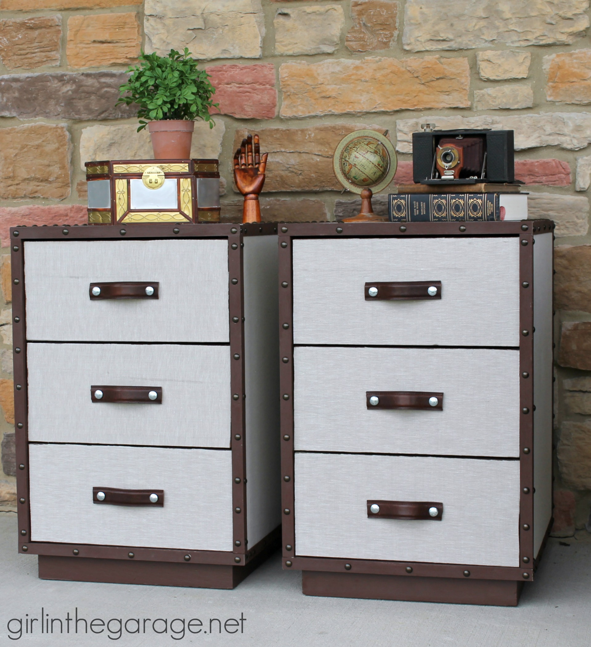 diy furniture makeover. Two Nightstands Are Transformed Into Pottery Barn Inspired DIY Trunk Bedside Tables For Themed Furniture Makeover Diy