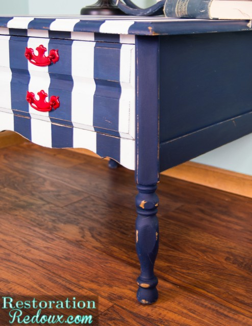 Striped Nightstand - Restoration Redoux