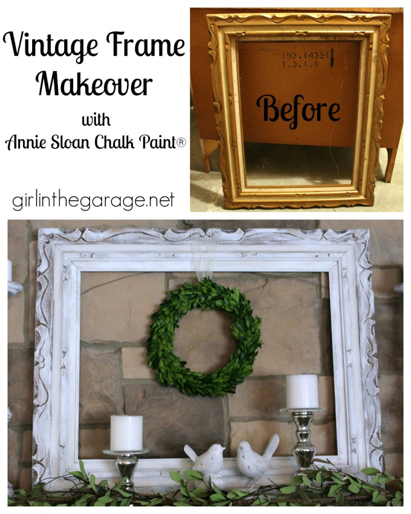 White and bright summer mantel with vintage frame makeover - Welcome Home Tour with Balsam Hill.  girlinthegarage.net