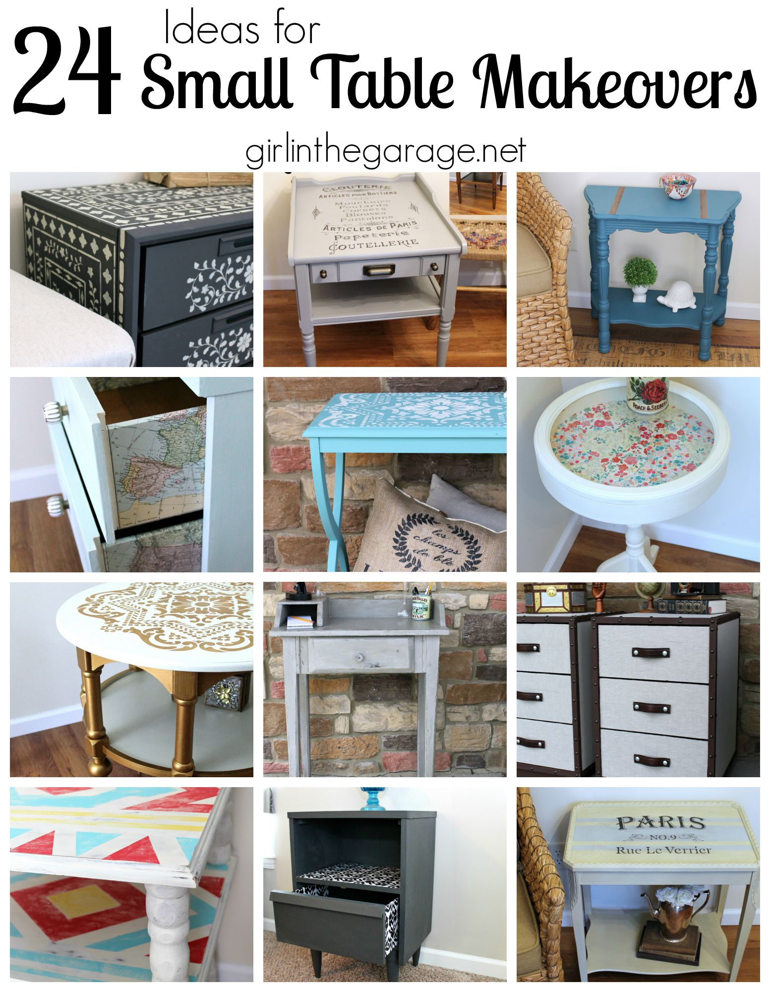 Inspiration for small table makeovers using paint, stencils, image  transfer, decoupage, and