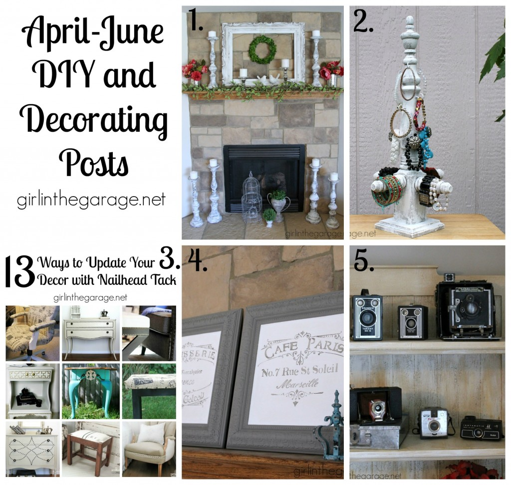 The best furniture makeovers, DIY, and decor posts for April-June 2015.  girlinthegarage.net