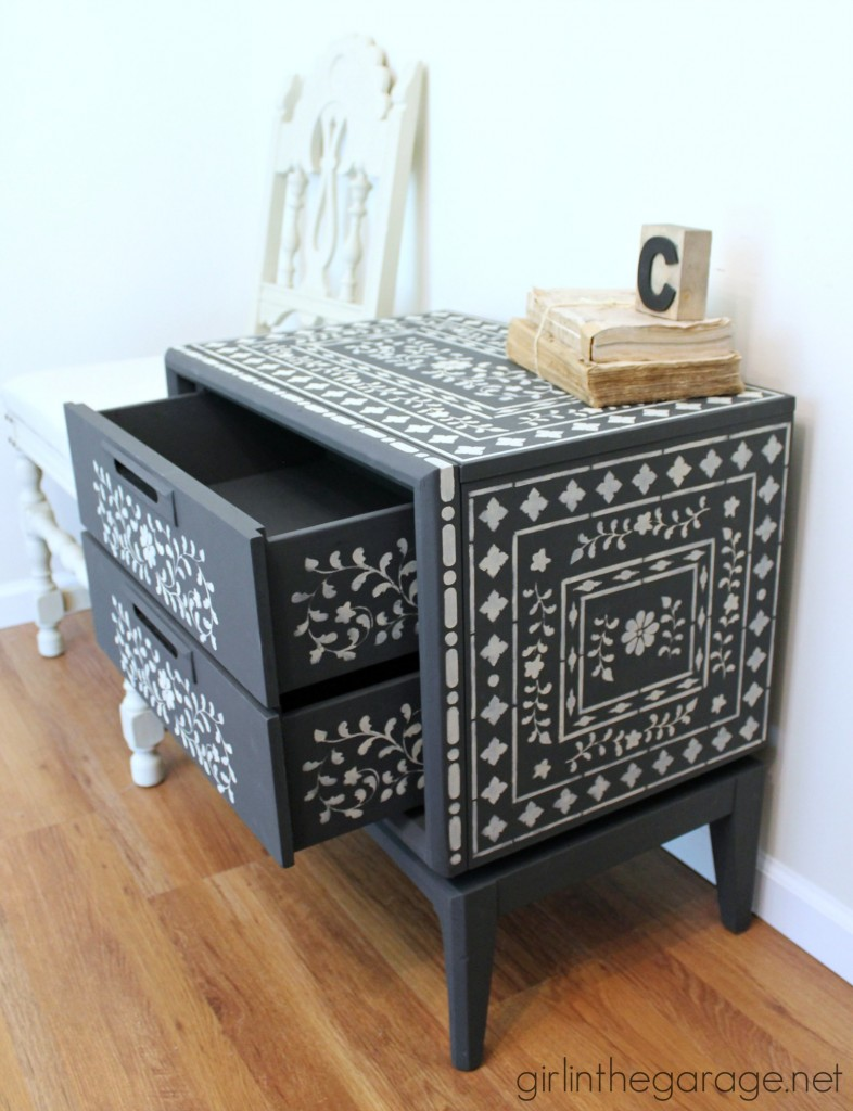 How to achieve the high end look of Indian Inlay furniture by stenciling.   girlinthegarage.net