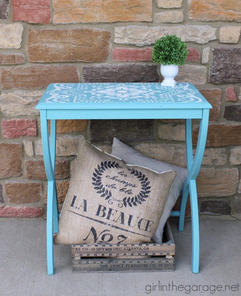 Turquoise stenciled X table - Girl in the Garage