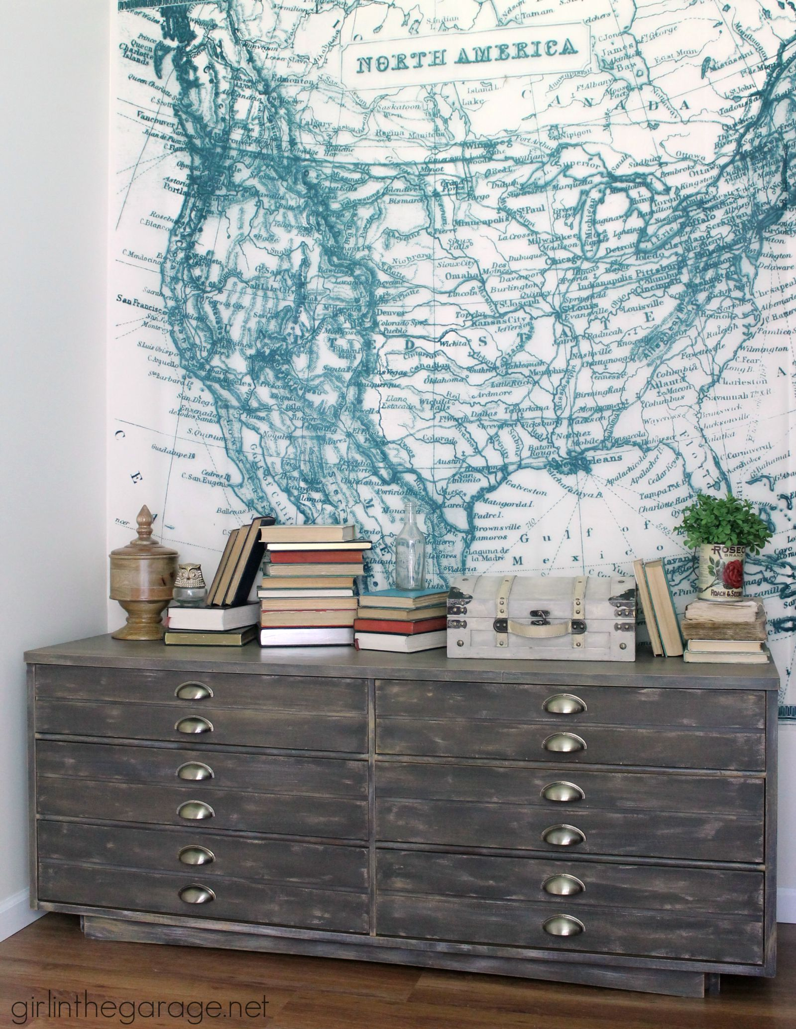 Anthropologie inspired industrial dresser makeover - Trash to Treasure - Girl in the Garage