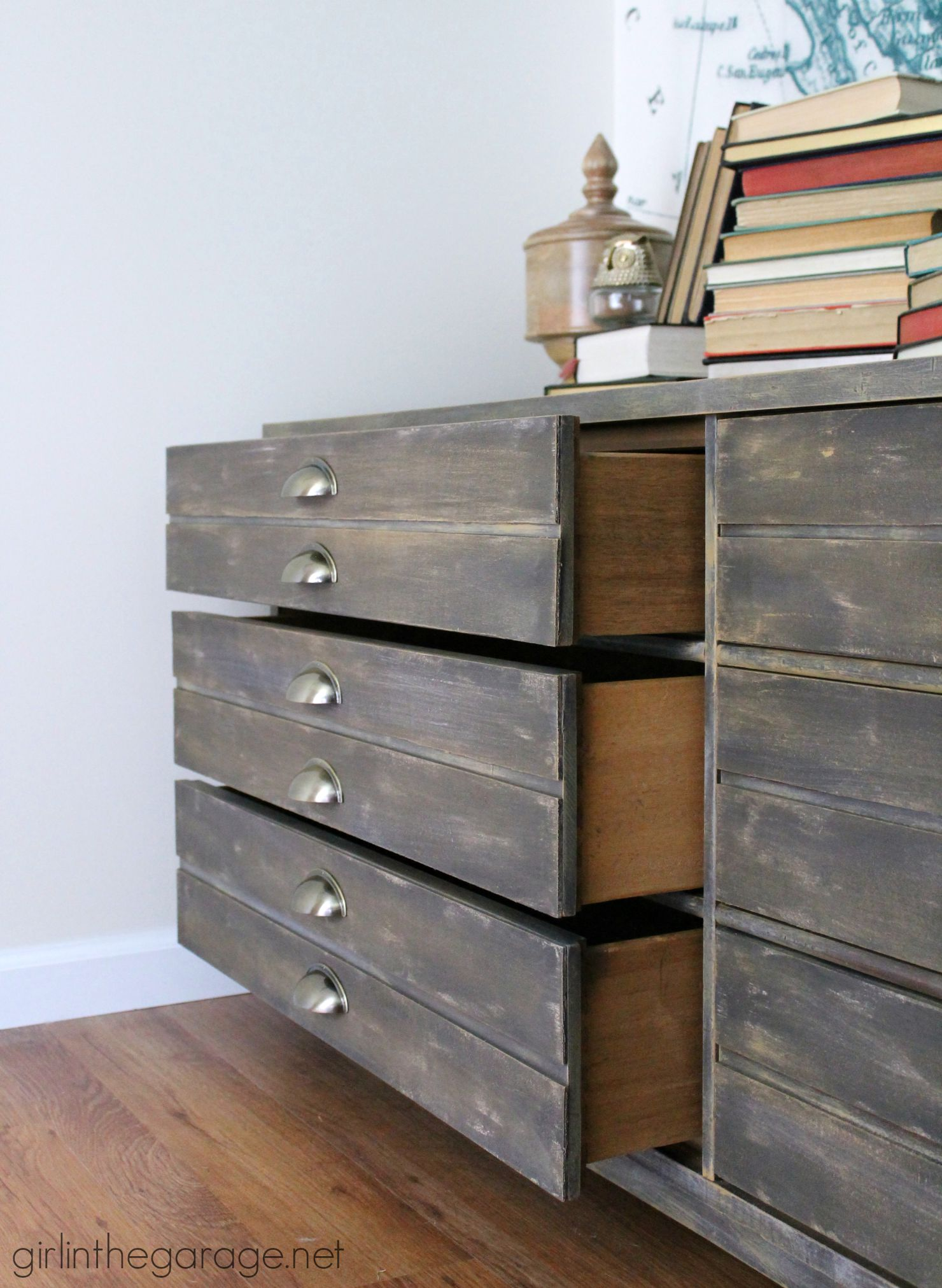 Repurpose a free dresser into an Anthropologie inspired faux industrial printer's cabinet - Girl in the Garage
