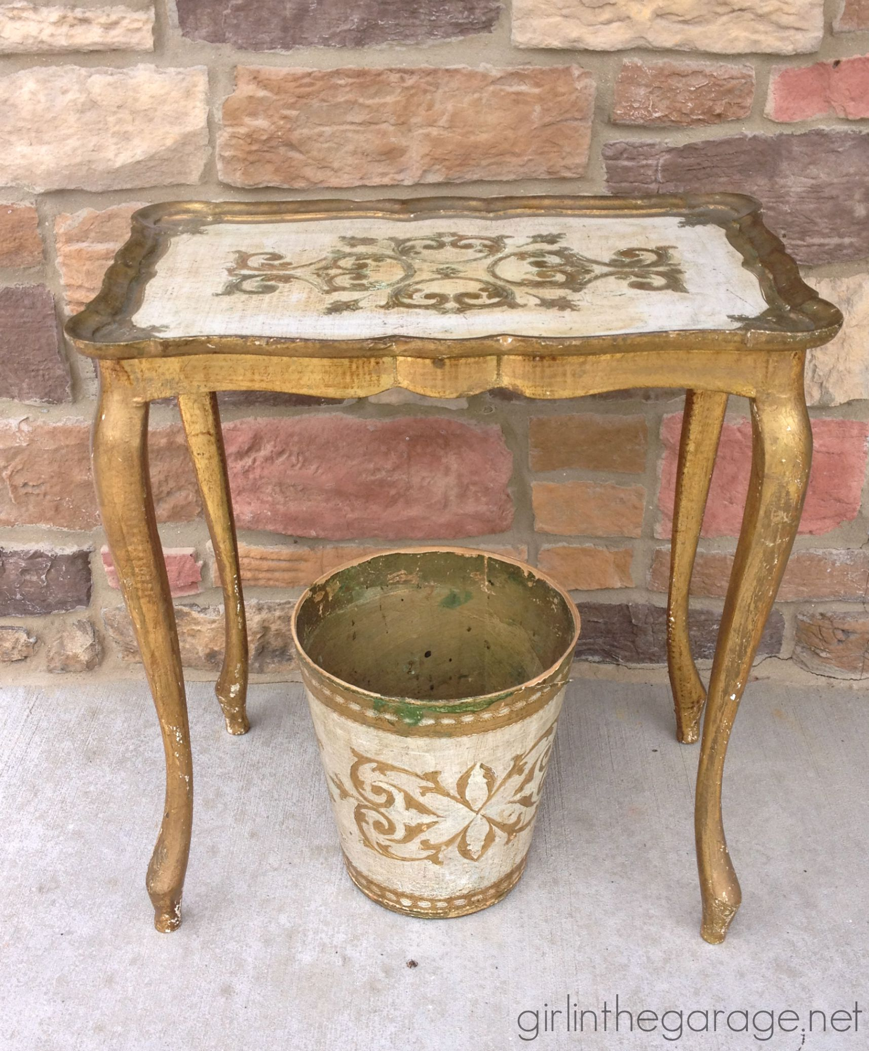 IMG_6787 Vintage Gold Table Trash Can