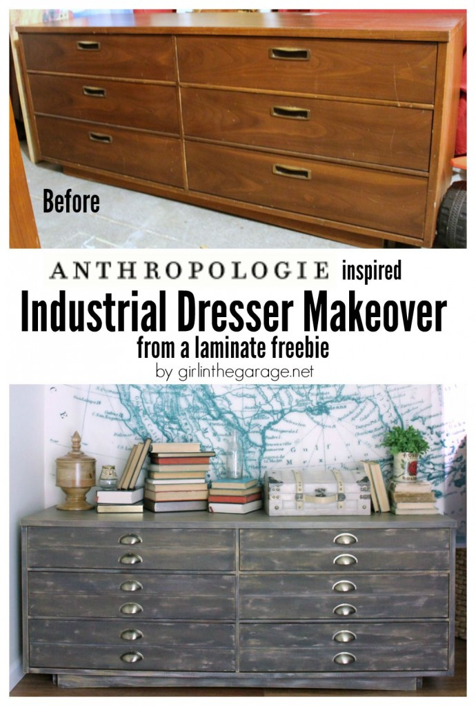 Anthropologie Inspired Industrial Dresser Makeover - Girl in the Garage