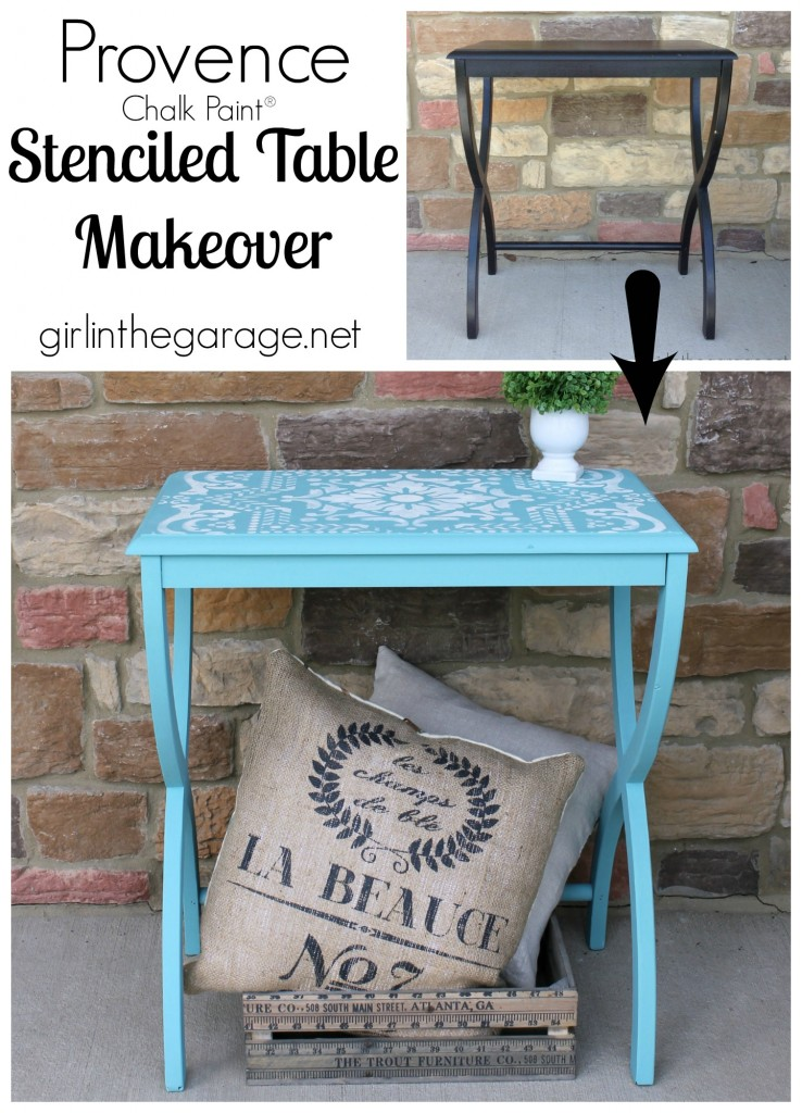 How to transform a plain table into a beautiful accent piece with Chalk Paint and the perfect stencil.  girlinthegarage.net