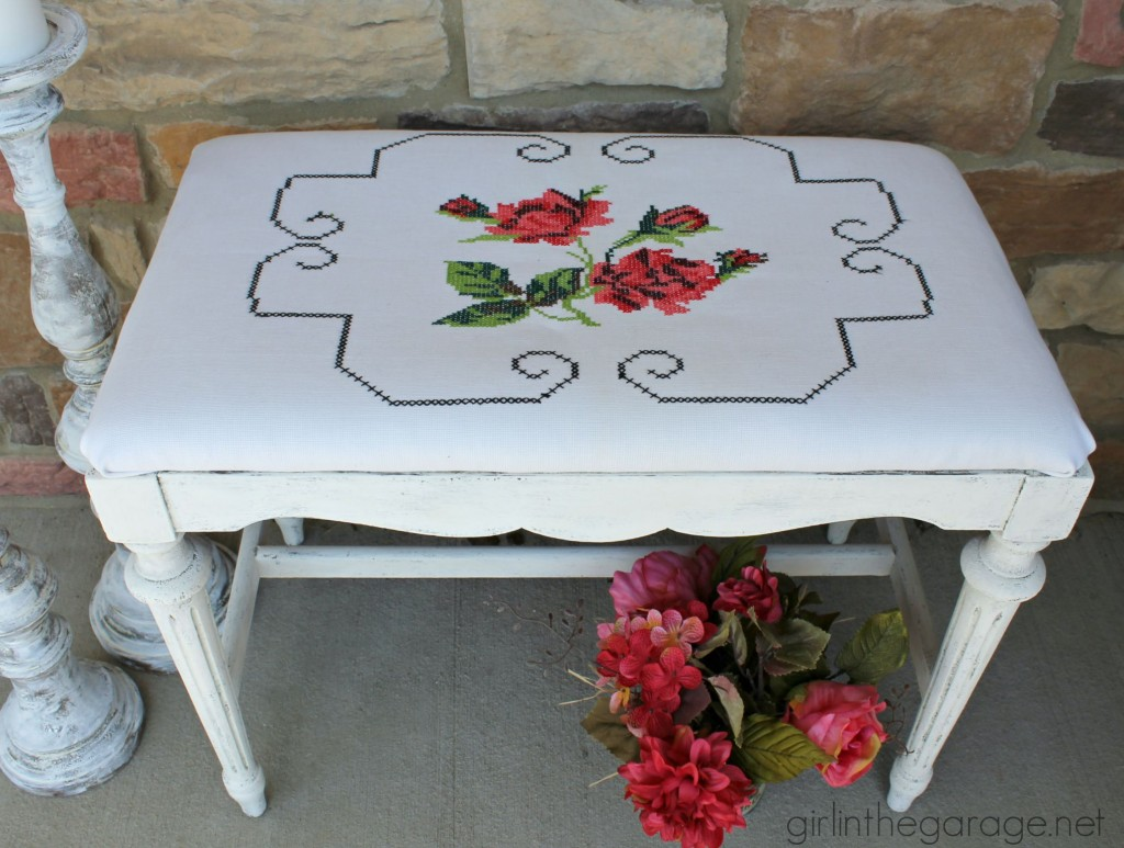 A shabby chic style antique bench makeover with Chalk Paint and recovered with a vintage pillowcase.  girlinthegarage.net