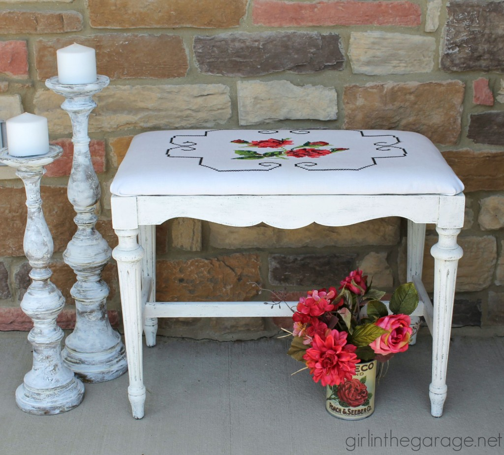 Vintage bench makeover with cross stitch pillowcase - Girl in the Garage