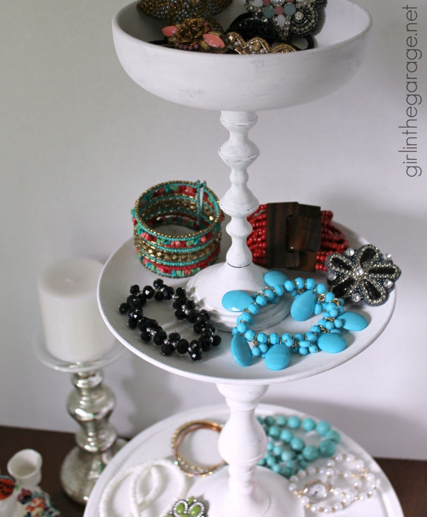 Trash to Treasure: How to make a DIY tiered display stand from random thrift store pieces. girlinthegarage.net
