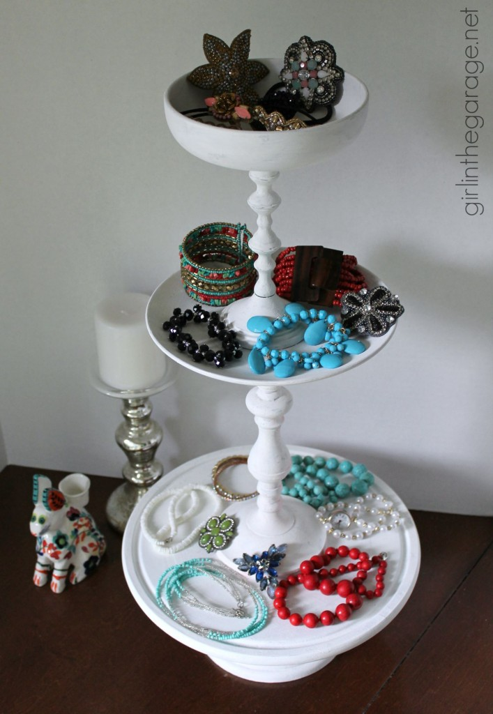 DIY Tiered Display Stand from Thrift Store Pieces - Girl in the Garage