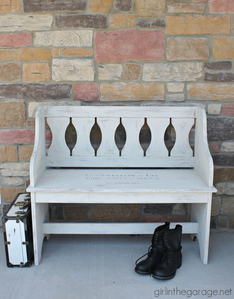 How a dated country bench was painted with Chalk Paint and a vintage sign stencil.  girlinthegarage.net