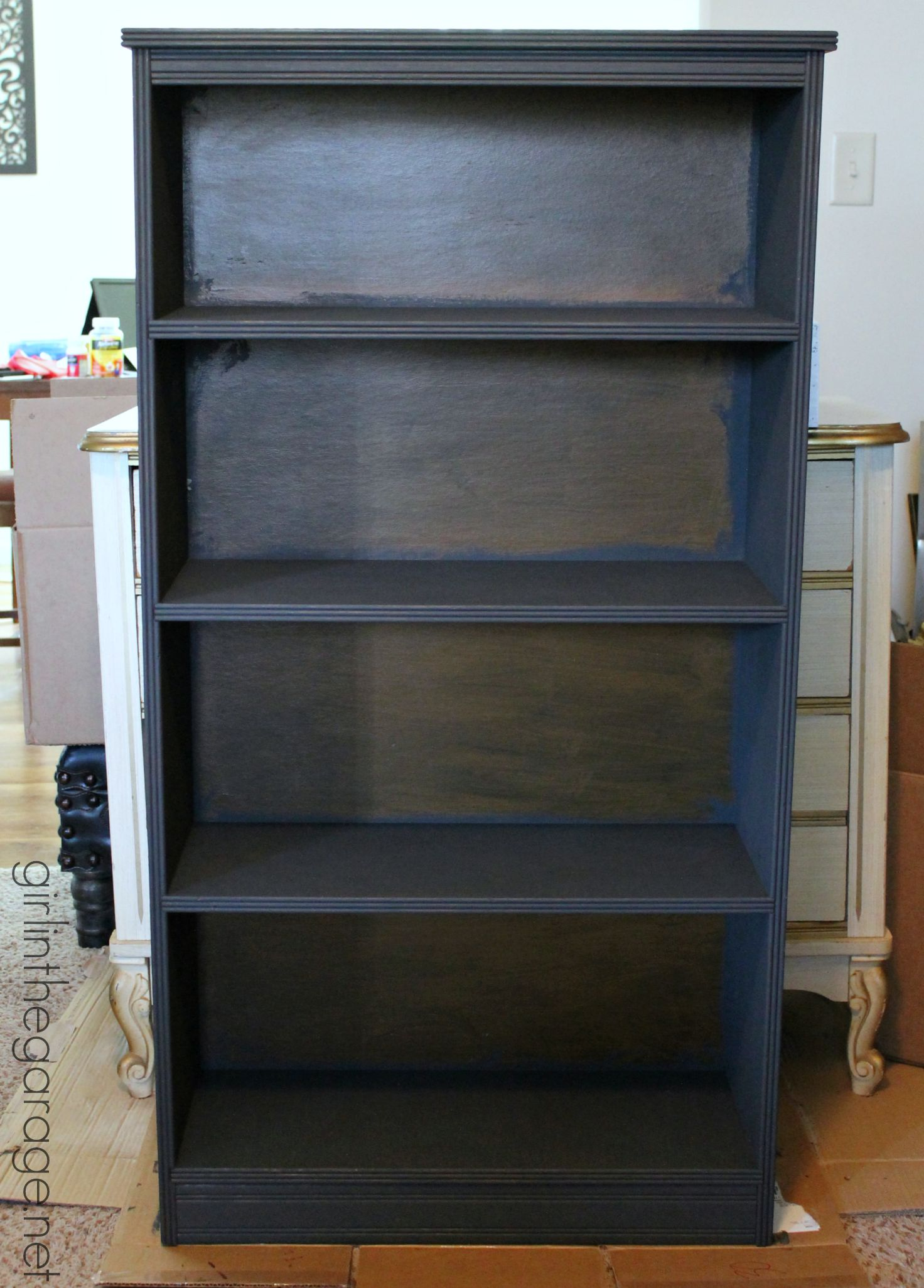 Marvelous photograph of Decoupage Bookcase: How to update a boring bookcase with paint pretty  with #714624 color and 1472x2052 pixels