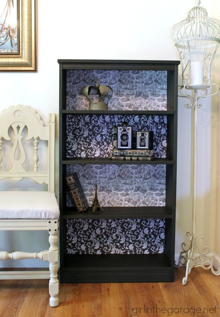 French Decoupage Bookcase Makeover