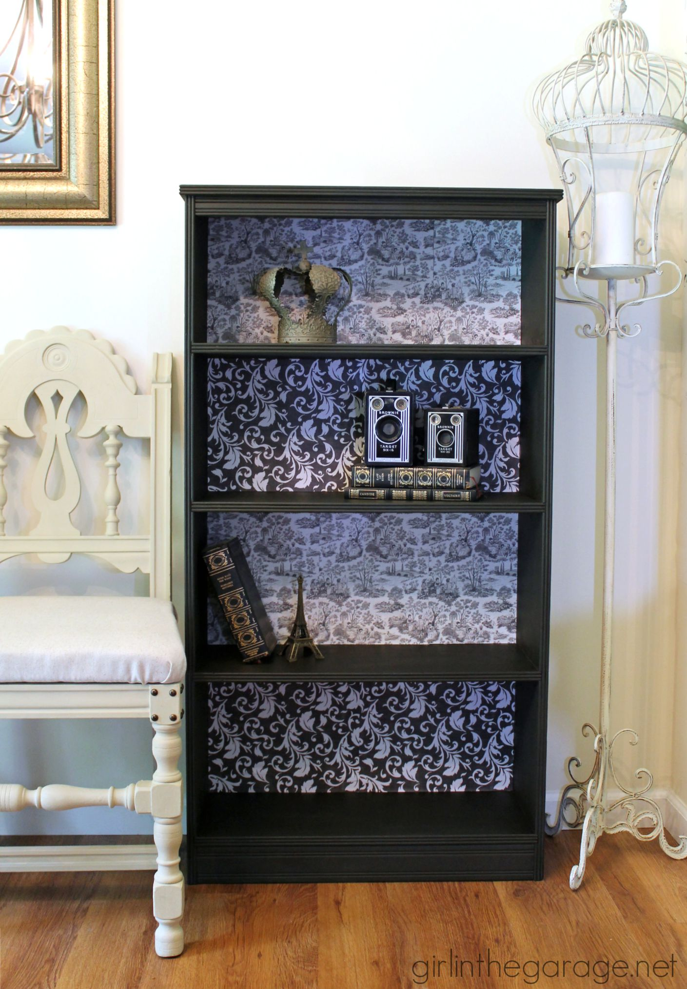 French Decoupage Bookcase Makeover with Mod Podge - Girl in the Garage