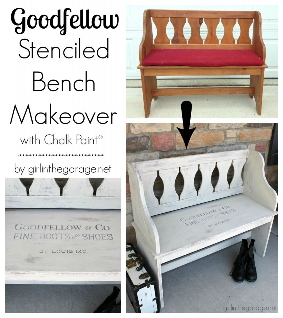 How a dated country bench was painted with Chalk Paint and a vintage sign stencil.  Plus tips for stenciling furniture.  girlinthegarage.net