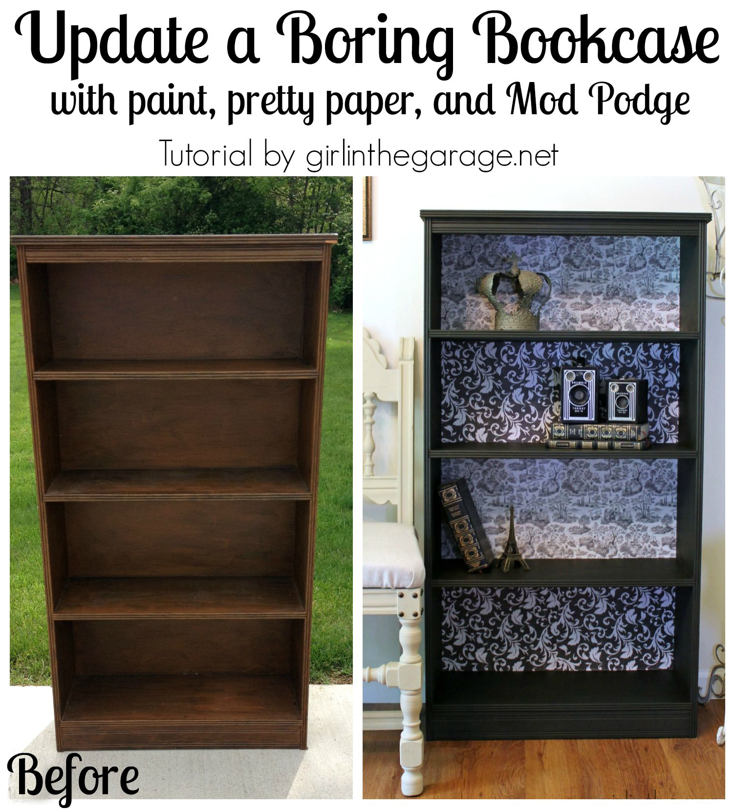 Garage Make Over Diy Decoupage Bookcase Girl In The Garage 174