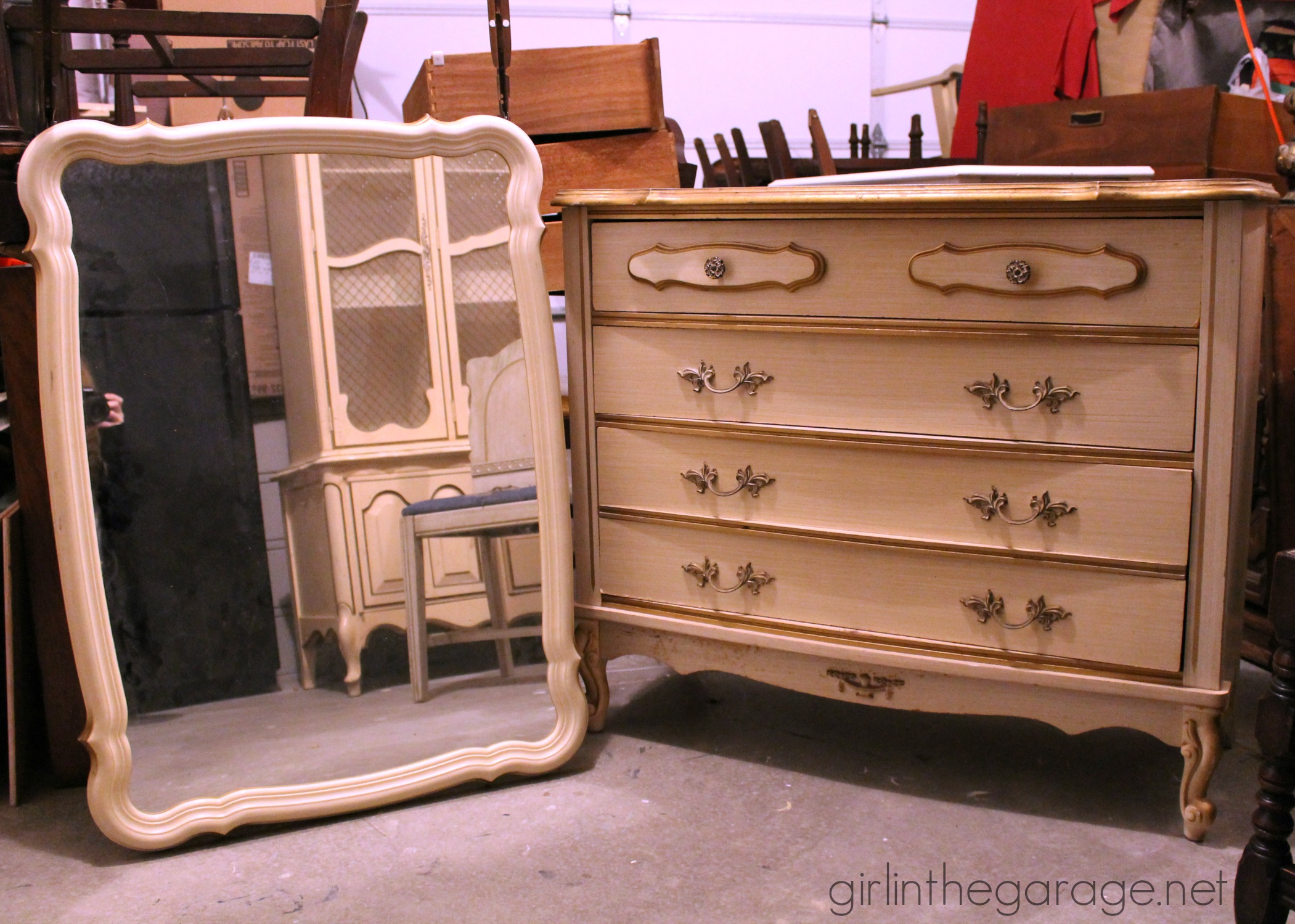 Painted French Provincial Bedroom Furniture Chalk Paint And Cherry Blossoms A Dresser Makeover Girl In The