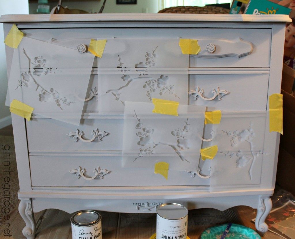 French Provincial dresser makeover with Chalk Paint® and Cherry Blossoms stencil. #MadeItMyOwn girlinthegarage.net