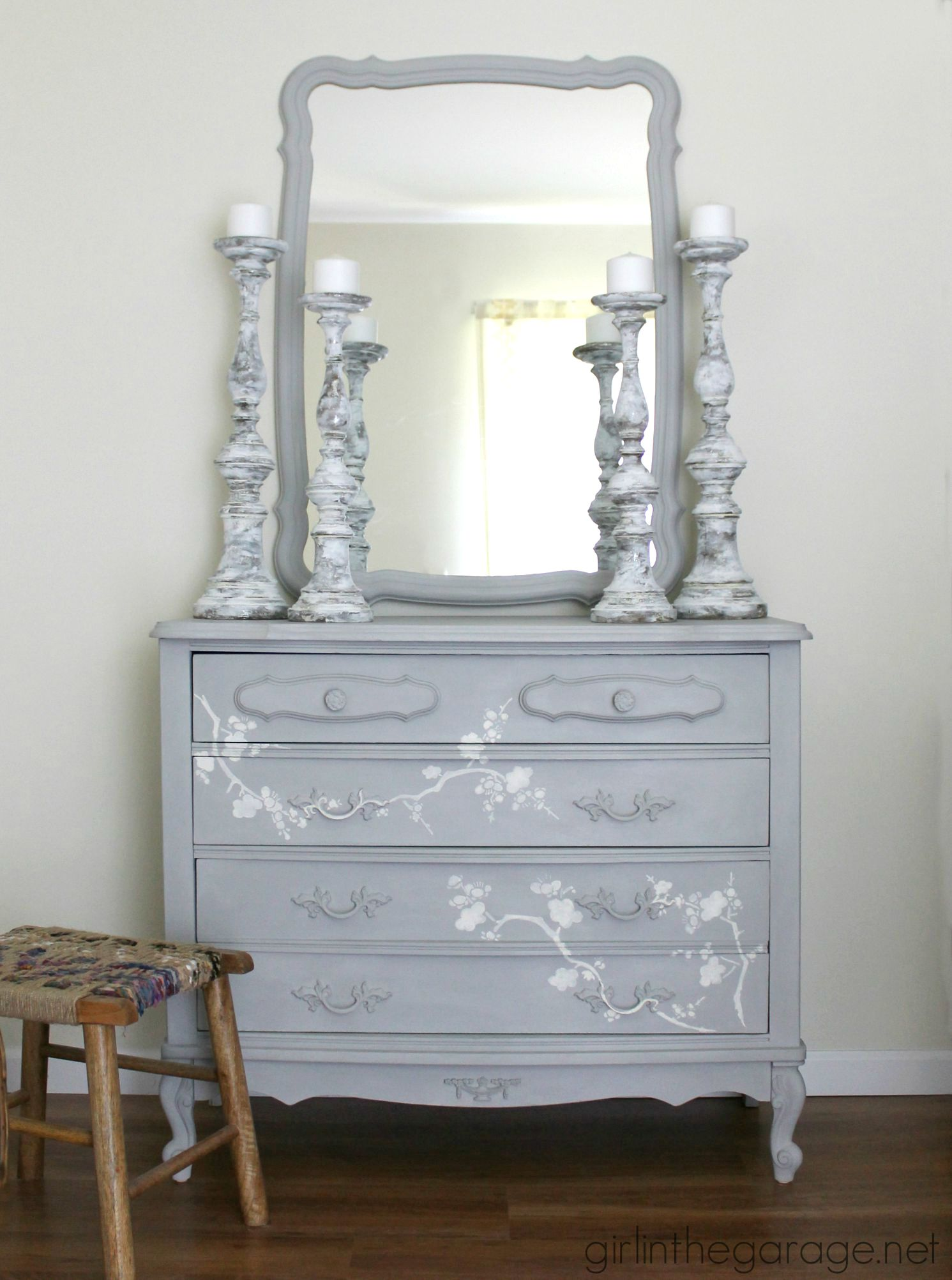 Chalk Paint and Cherry Blossoms – A Dresser Makeover