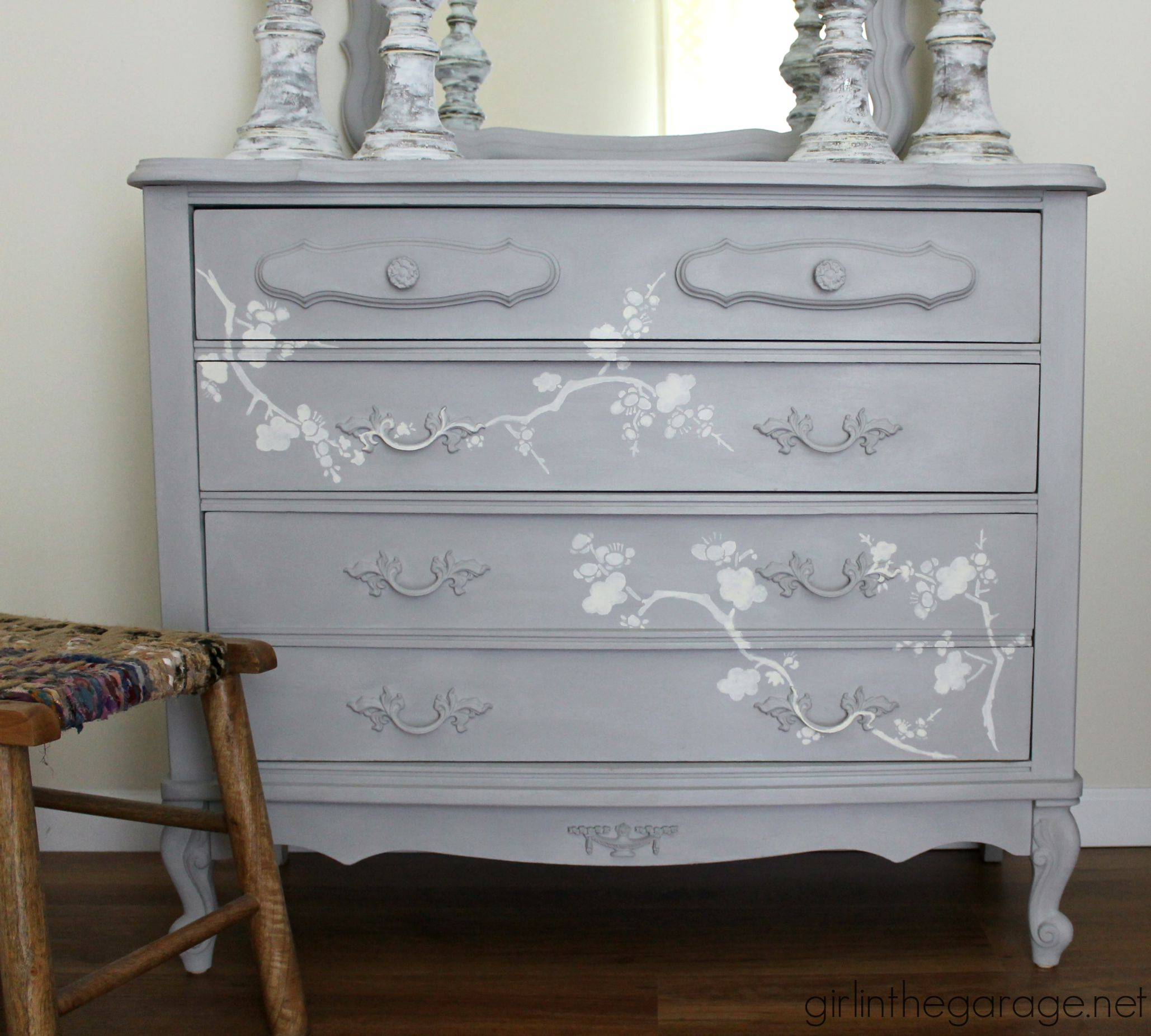 French Provincial Dresser Makeover With Chalk Paint® And Cherry Blossoms  Stencil.