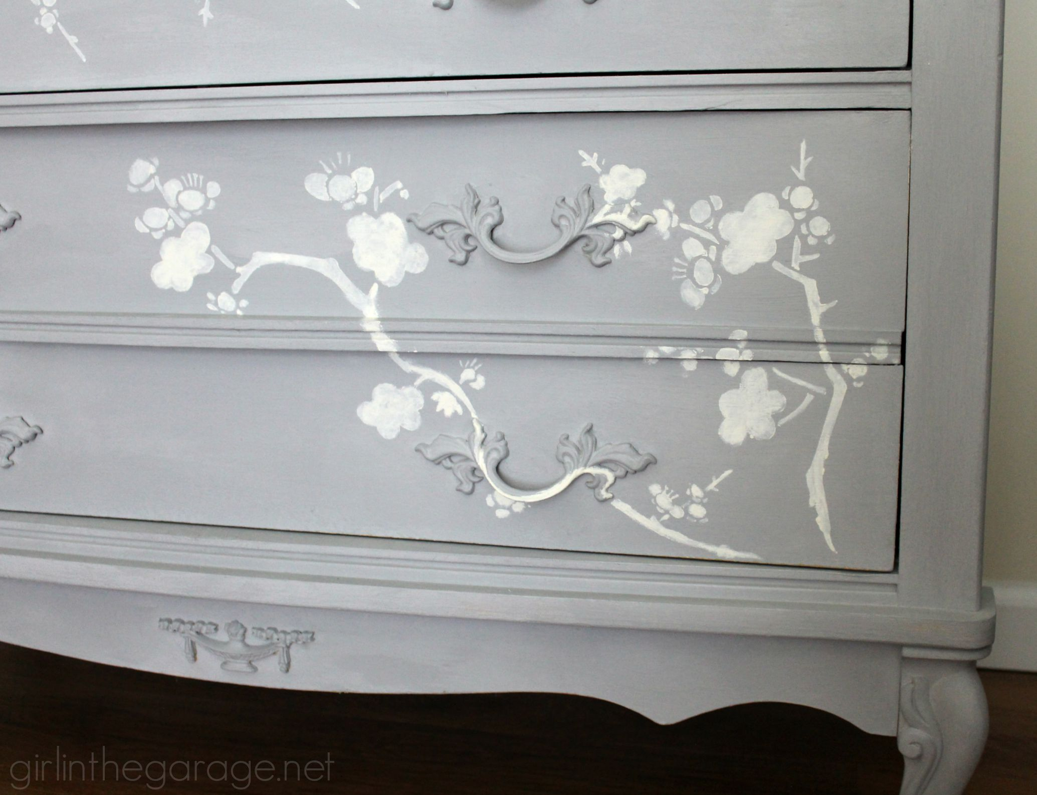 Bedroom Stencils Chalk Paint And Cherry Blossoms A Dresser Makeover