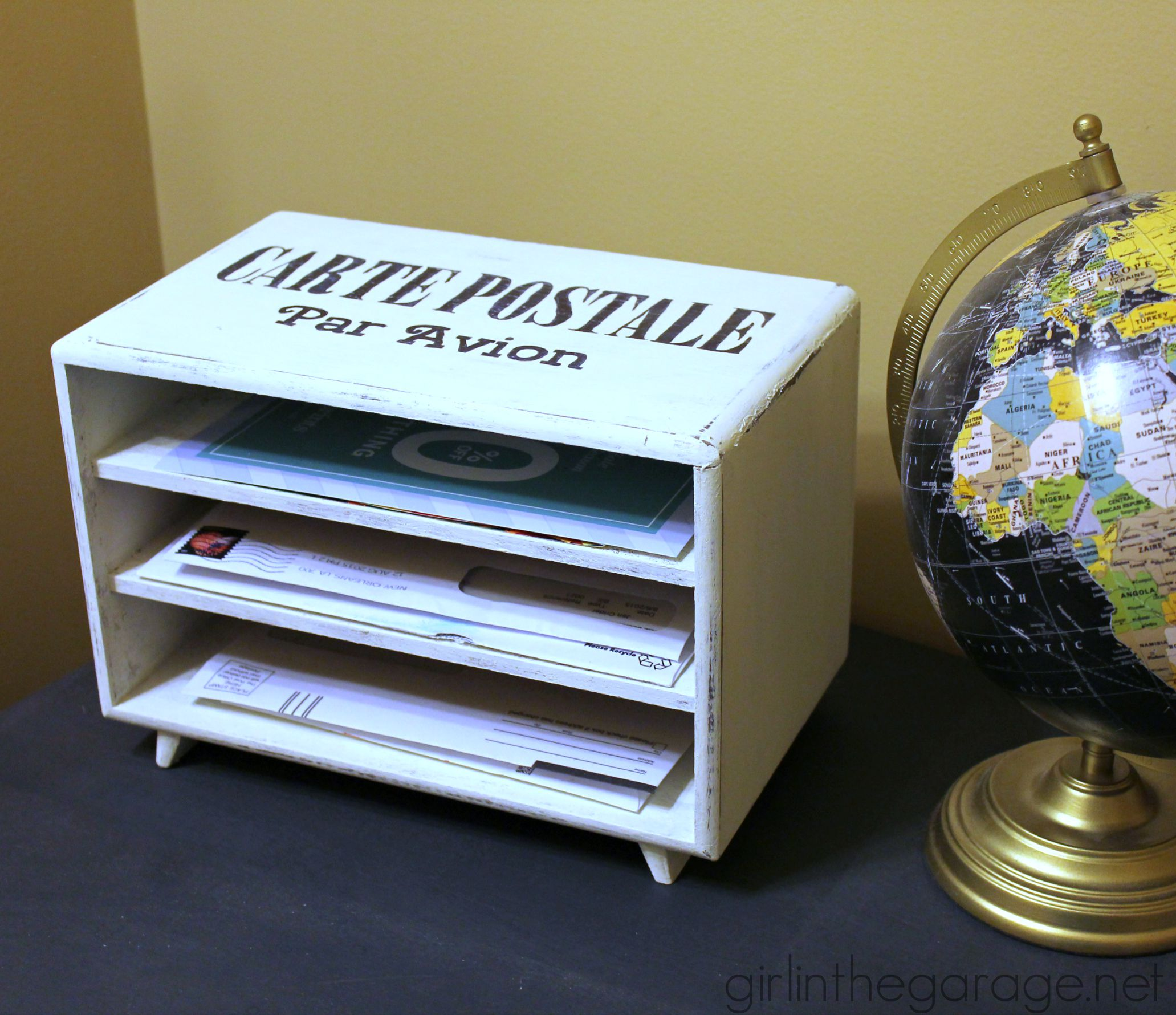 Jewelry box to diy mail organizer girl in the garage for Old jewelry box makeover