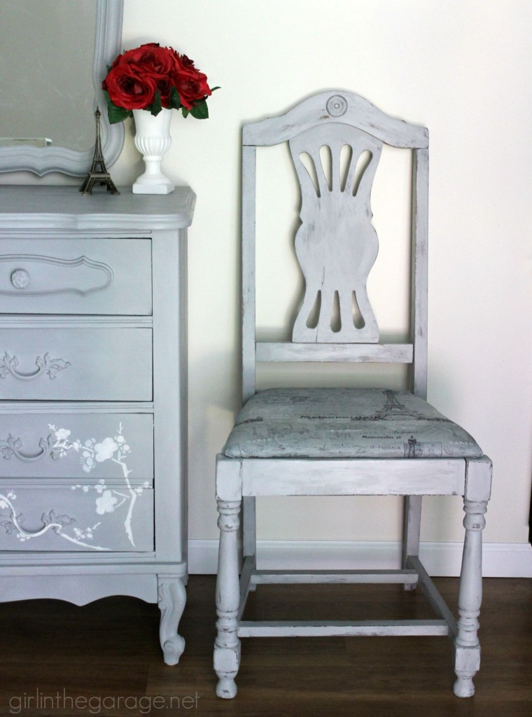 French Chair Makeover in Paris Grey Chalk Paint