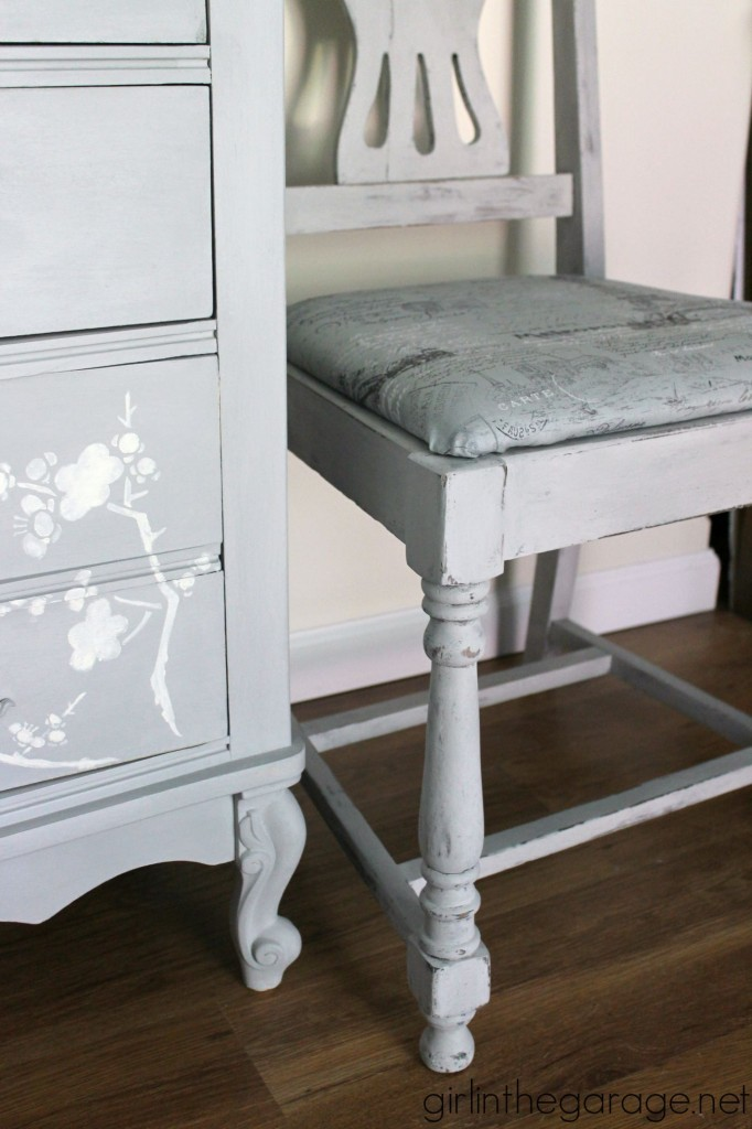 Vintage chair makeover with Chalk Paint and French fabric - by Girl in the Garage for Themed Furniture Makeover Day