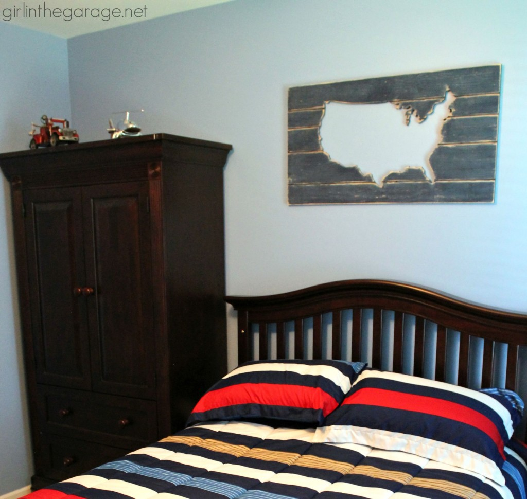 Boy bedroom makeover in red, white, and blue - plus tips for painting walls