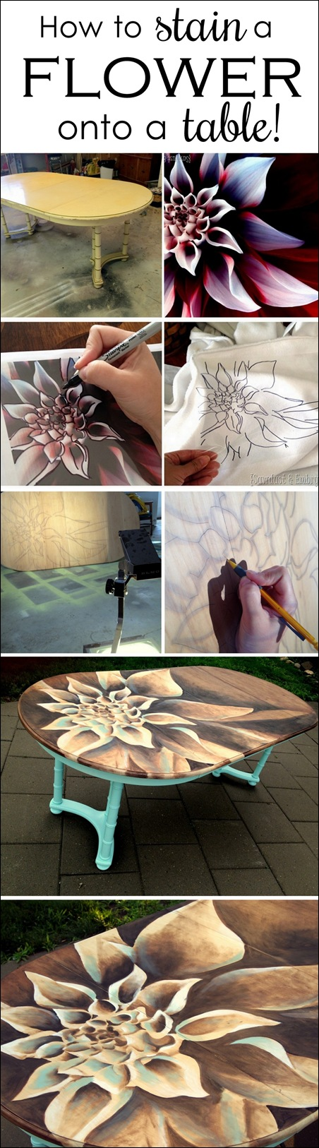 How to stain a flower onto a table - by Sawdust & Embryos