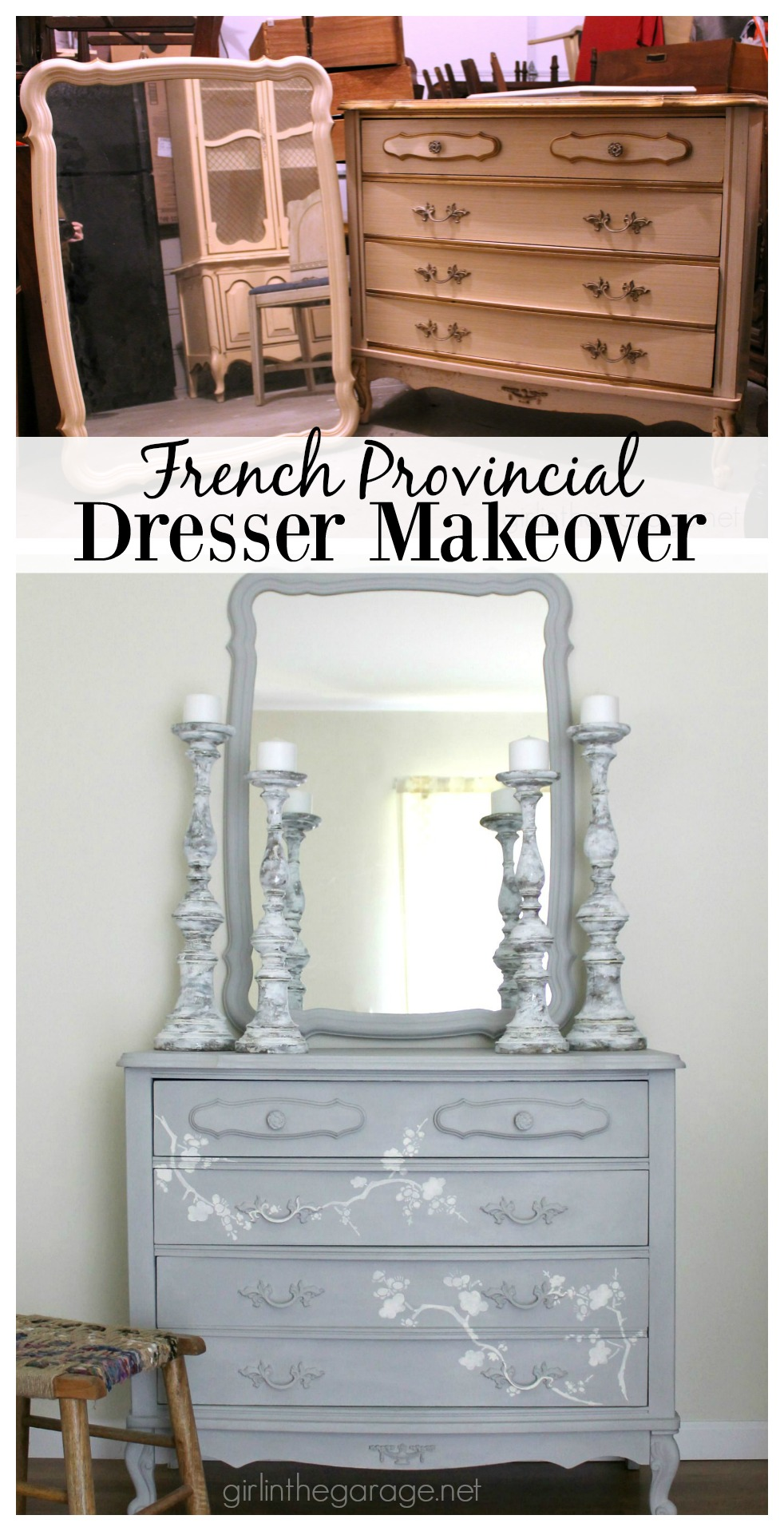 French Provincial dresser makeover with Chalk Paint® and Cherry Blossoms stencil. Girl in the Garage