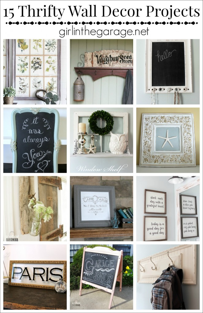 15 Creative DIY wall decor ideas from repurposed items.  girlinthegarage.net