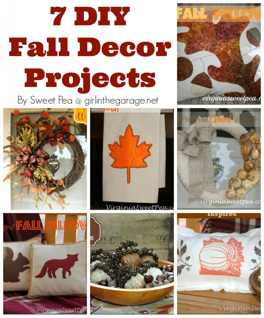 7 DIY Fall Decor Projects - pillows, tea towels, wreaths, etc. from Sweet Pea