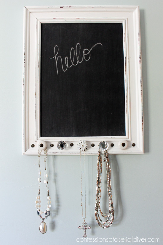 Old Art to Jewelry Holder Chalkboard - by Confessions of a Serial DIYer
