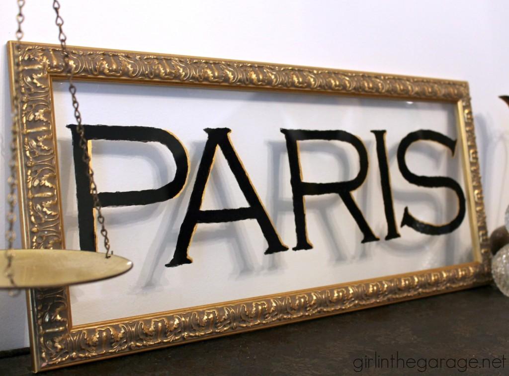 Yard sale print becomes French window-type art. girlinthegarage.net