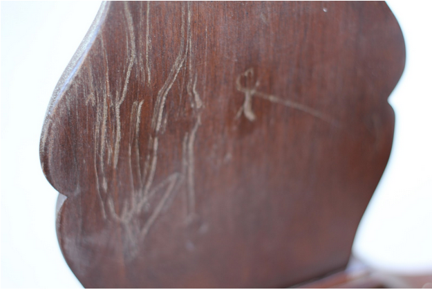 How to repair scratches and gouges in furniture - by Highstyle Restyle @ girlinthegarage.net