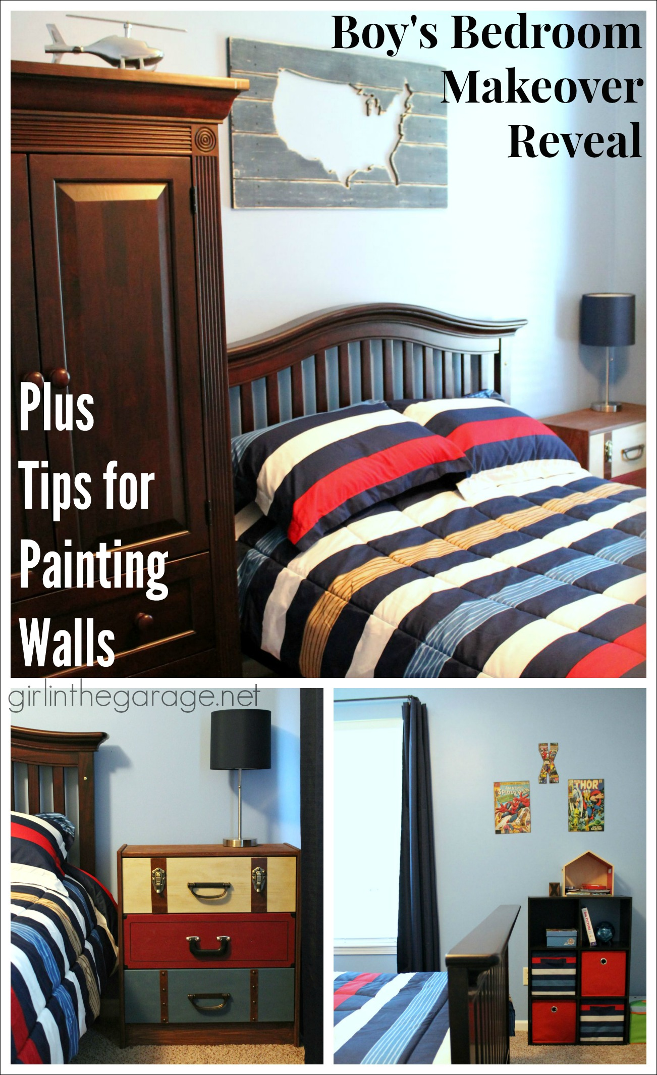 Boy\'s Bedroom Makeover Reveal + Tips for Painting Walls ...