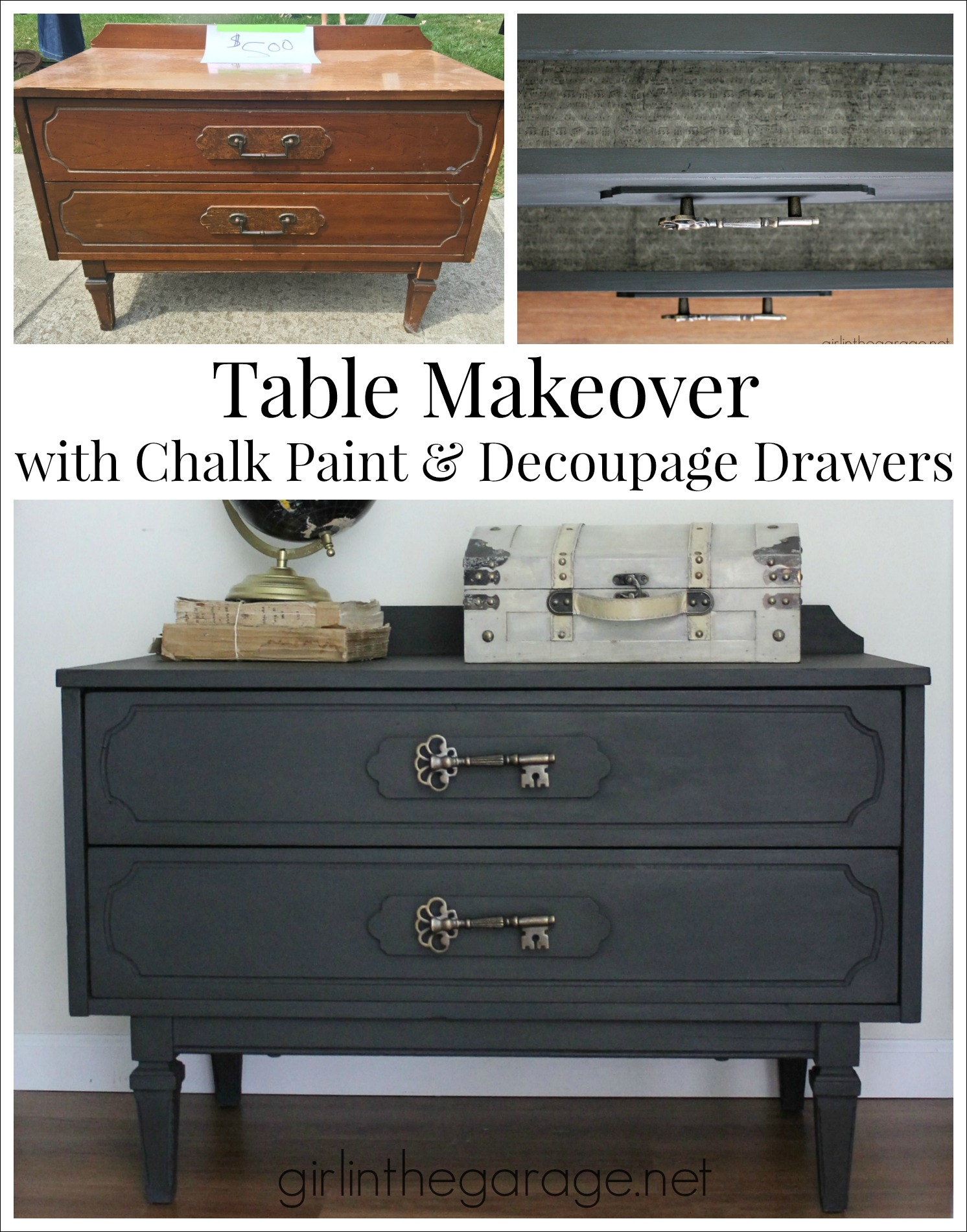 Painted Table in Graphite Chalk Paint with Decoupage Drawers - Girl in the Garage