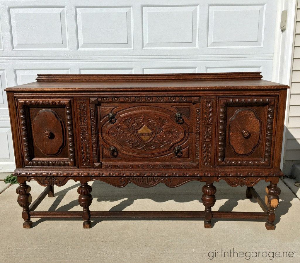 Antique ornate buffet and other thrifty finds while treasure hunting at yard sales and Goodwill.  girlinthegarage.net